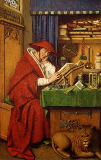 san jeronimo in his study 1435 jan van eyck  medieval imago dies vitae